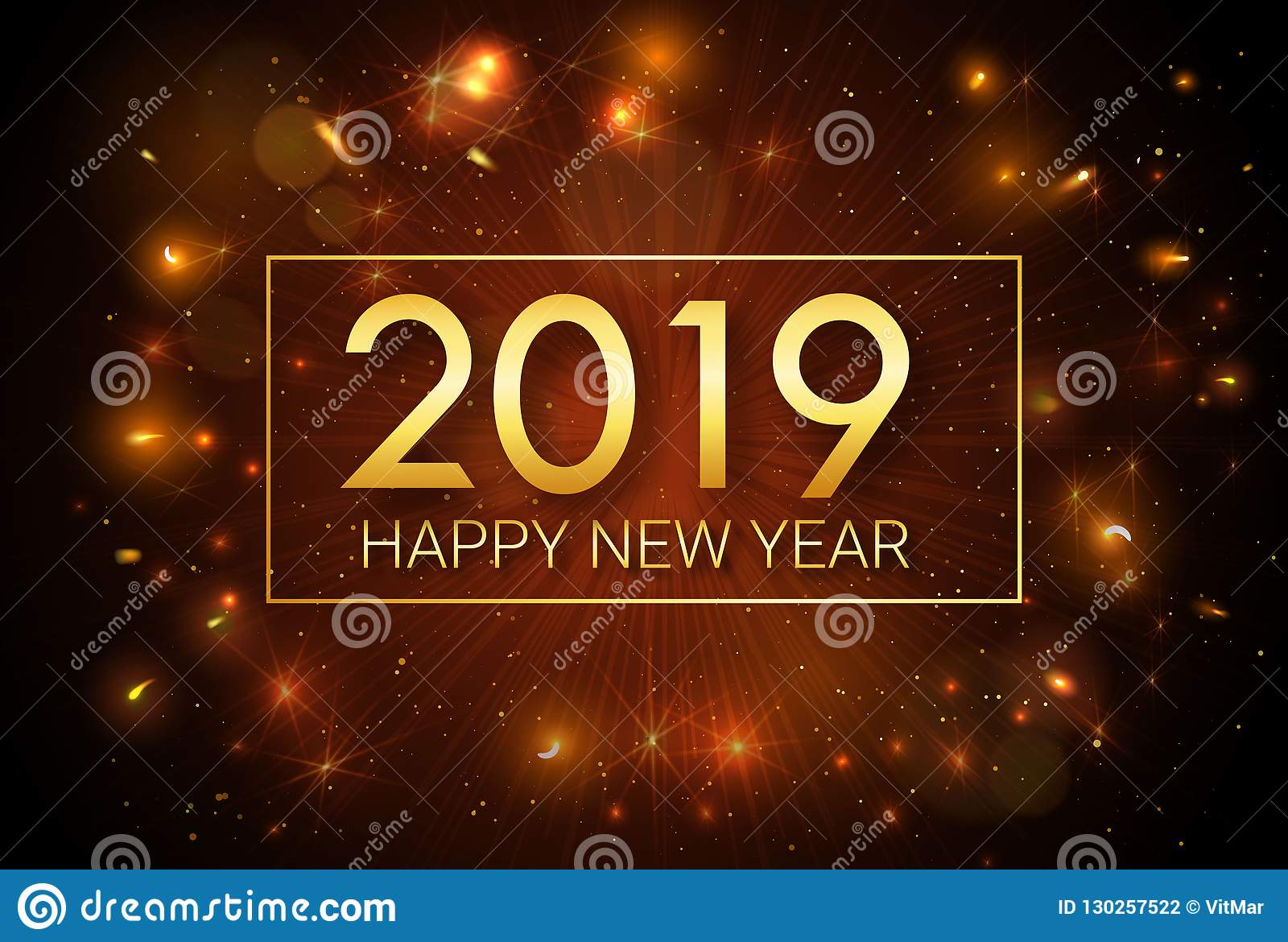 happy new year 2019 christmas greeting golden inscription on the background of fireworks