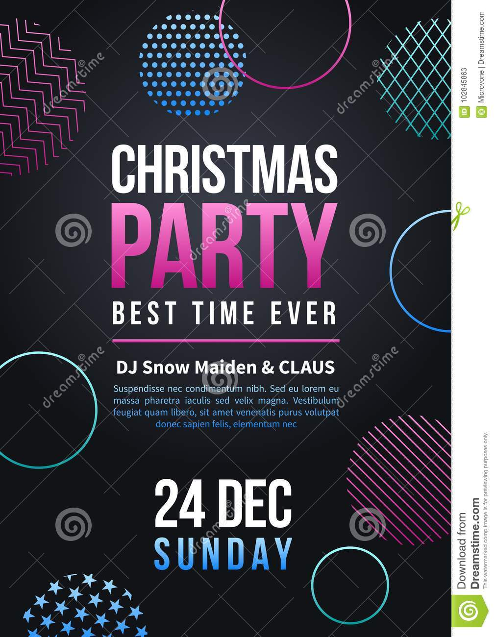 happy new year and christmas party vector poster in colorful funky