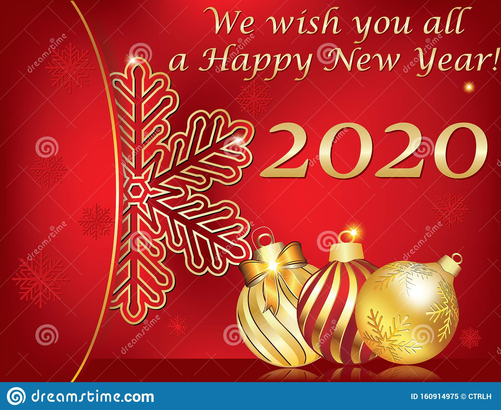 Happy New Year 2020 Corporate Greeting Card With Red And