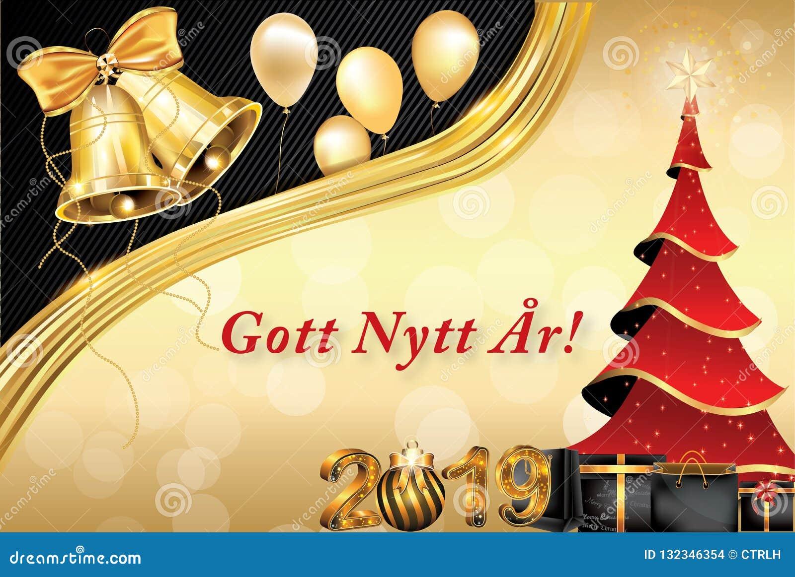 Happy New Year   Classic Greeting Card In Swedish