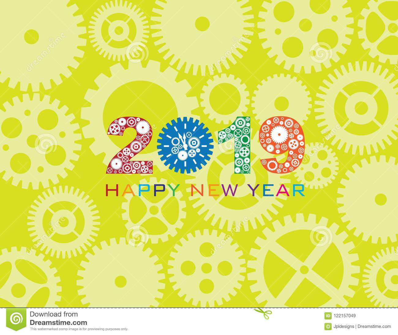 2019 happy new year clock gear color vector illustration - New year 2019 color ...