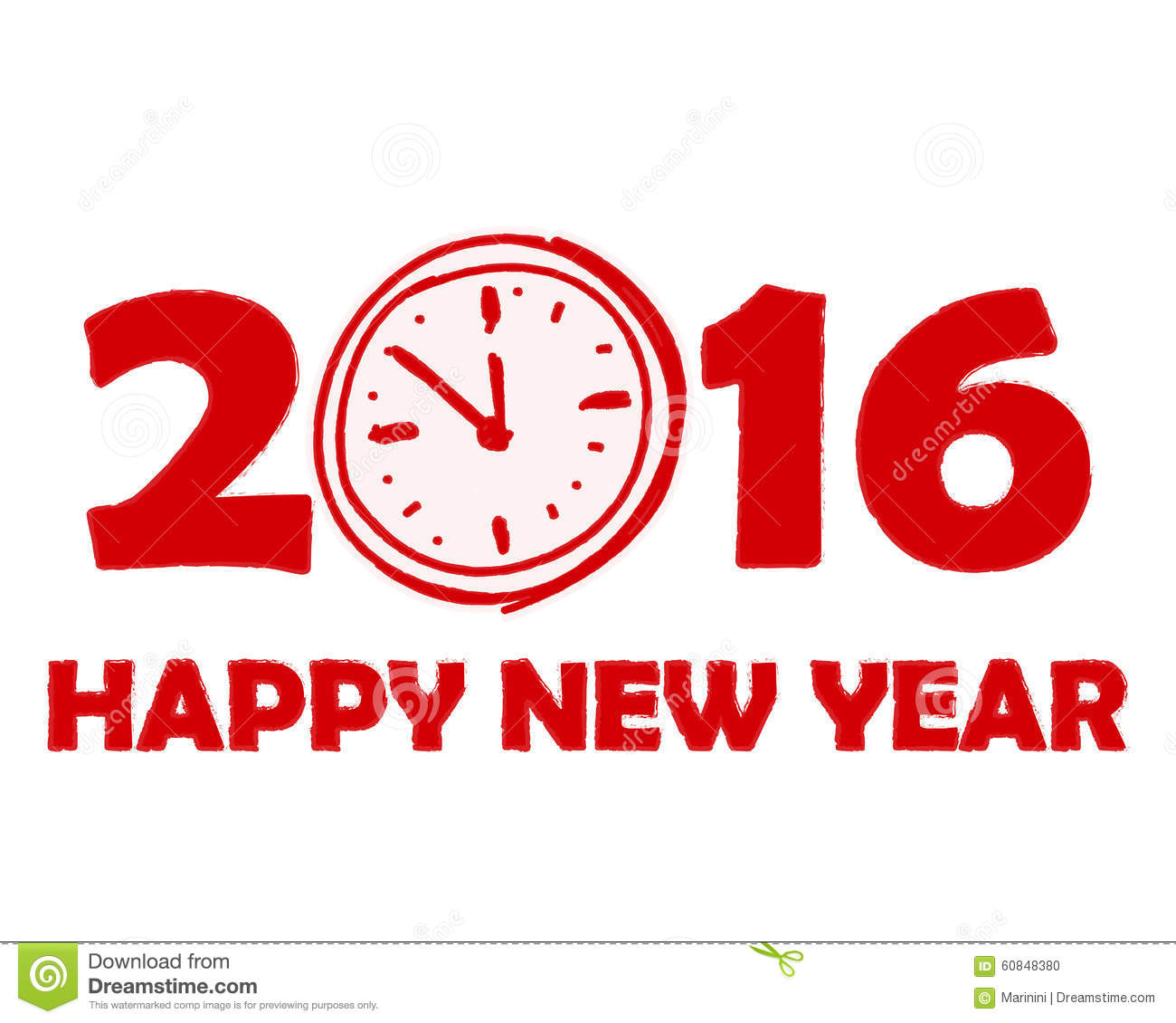 Happy New Year 2016 With Clock Sign In Red Drawn Banner Stock ...