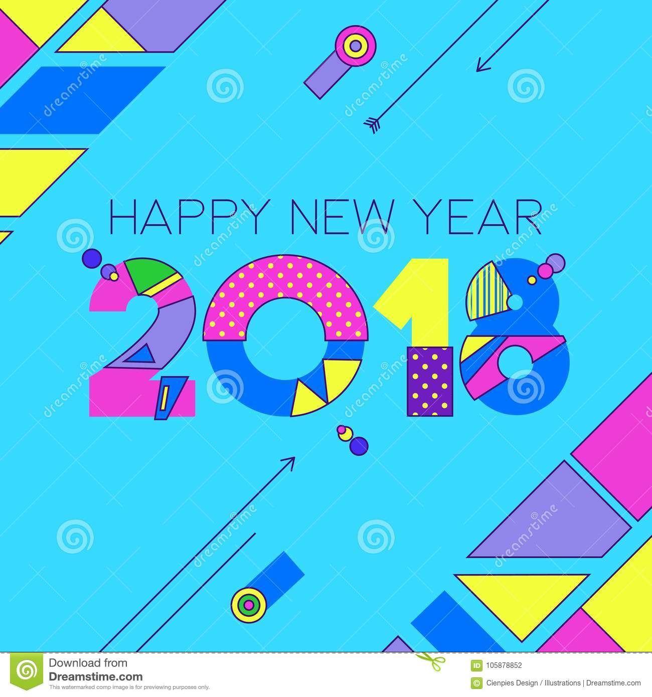 Happy New Year 2018 Color 80s Number Greeting Card Stock Vector ...