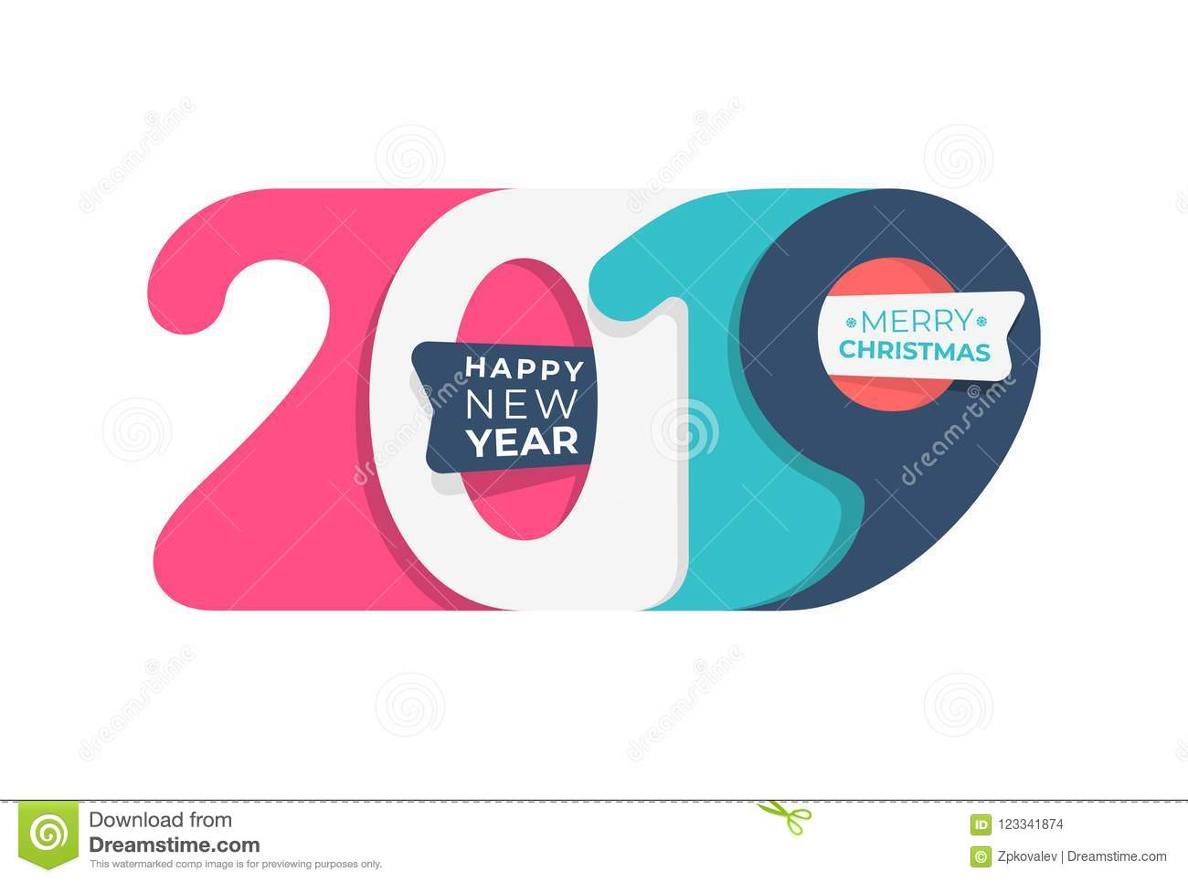 Happy New Year. 2019 Colored In Pastel Colors Number Text Design ...