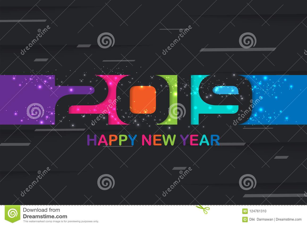 2019 Happy New Year colorful background creative design for your greetings card, flyers, posters, brochure, banners, calendar