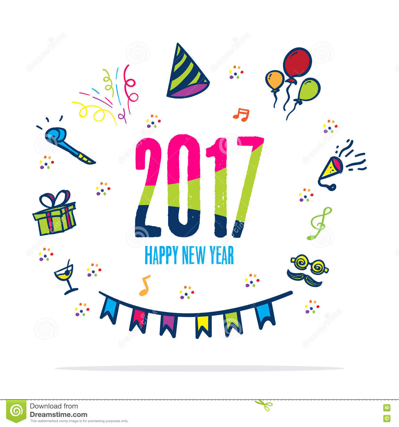 2017 Happy New Year Colorful Color With Doodle Party Icon On Whi ...
