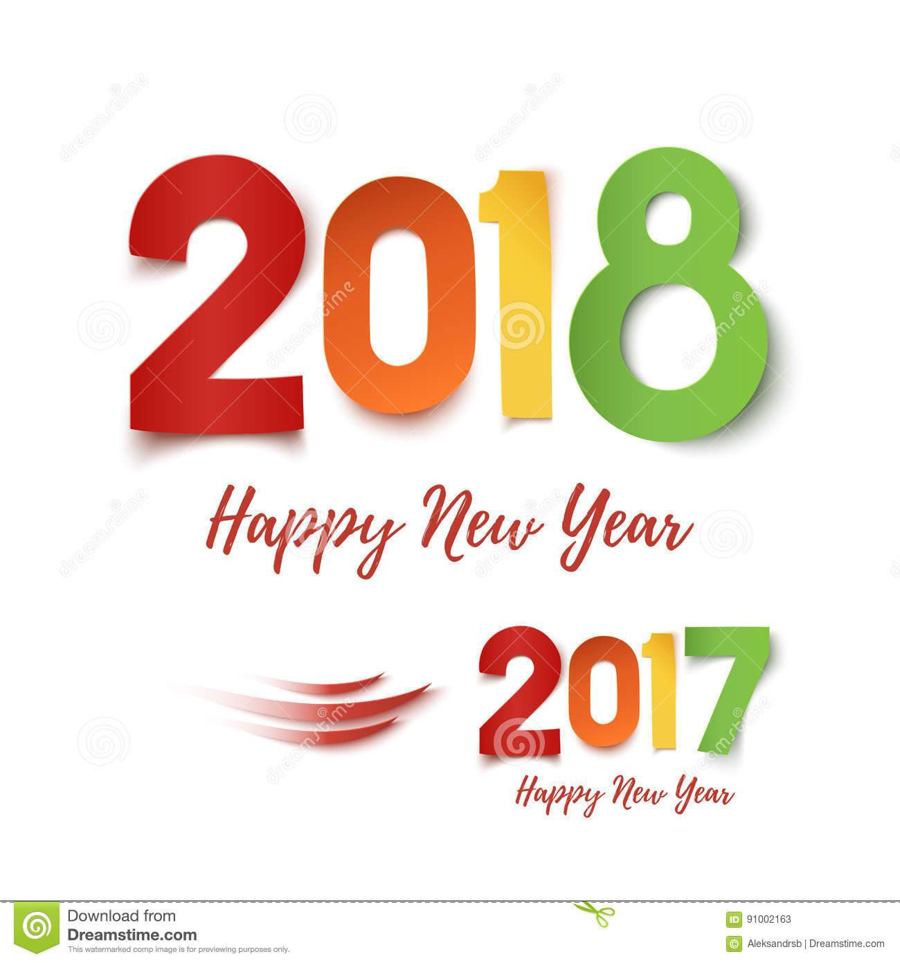 Happy New Year 2017- 2018 Colorful Design. Stock Vector ...