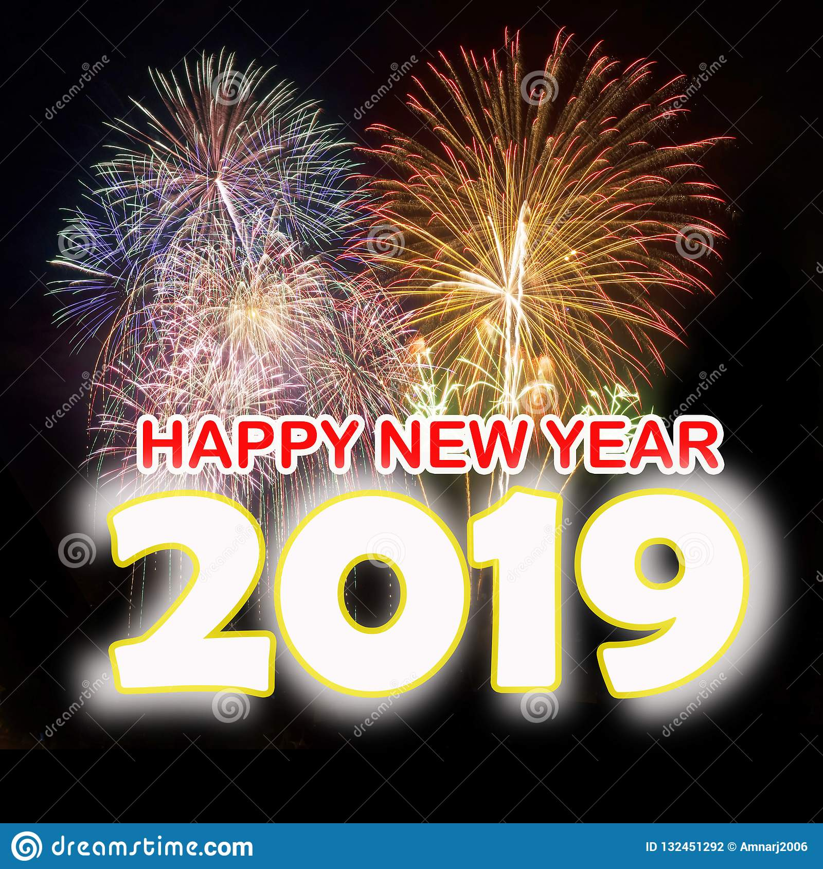 Happy New Year 2019 with colorful fireworks