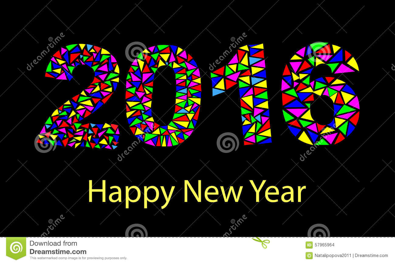 Happy New Year 2016 Colorful Greeting Card Made In Polygonal Origami