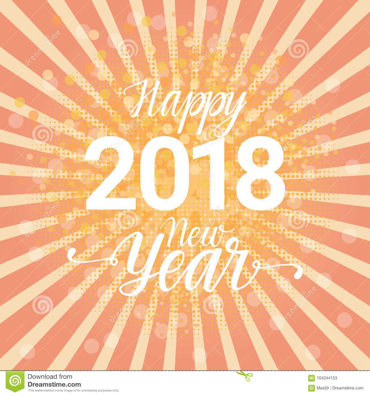 Happy New Year 2018 Colorful Greeting Card Winter Holidays ...