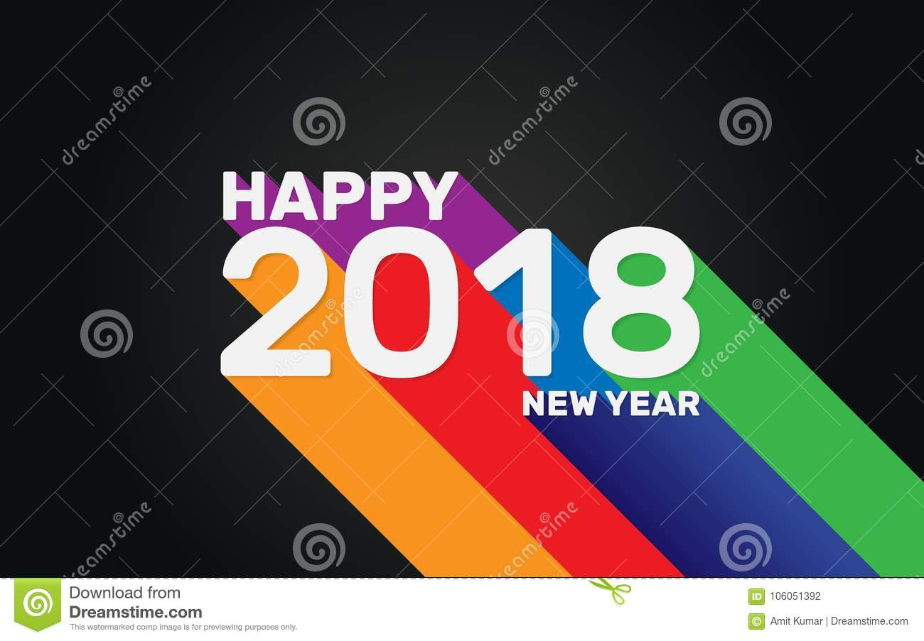 happy new year 2018 wallpaper banner background with multi color long shadow effect new year 2018 celebration wallpaper for desktop computer or for social