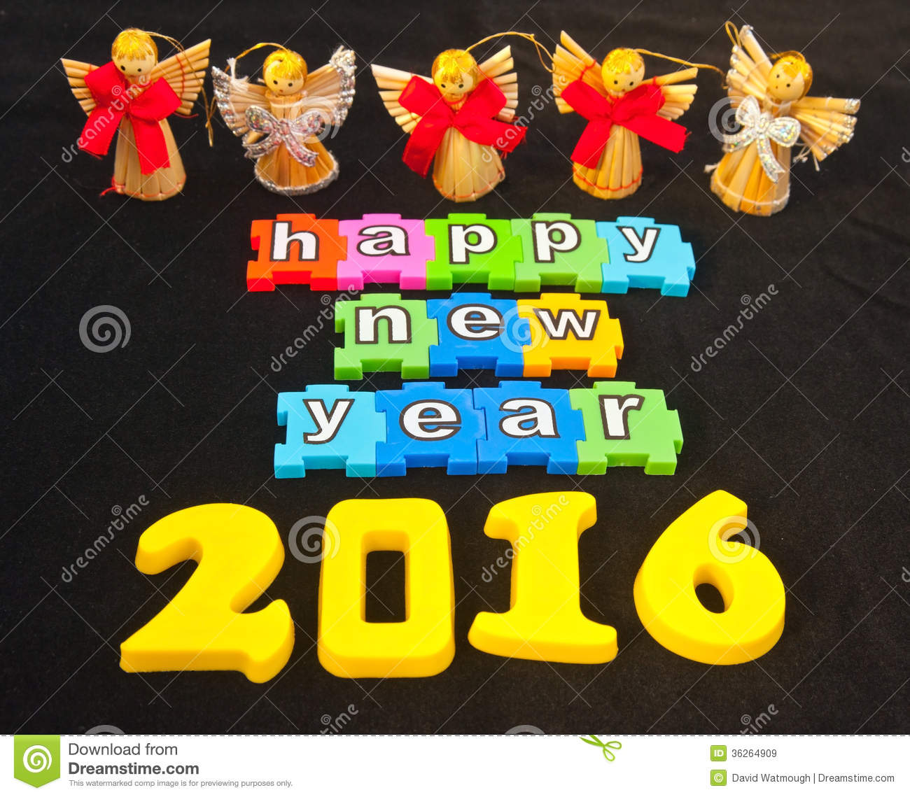 ... New Year 2016 isolated on black background with angels giving a