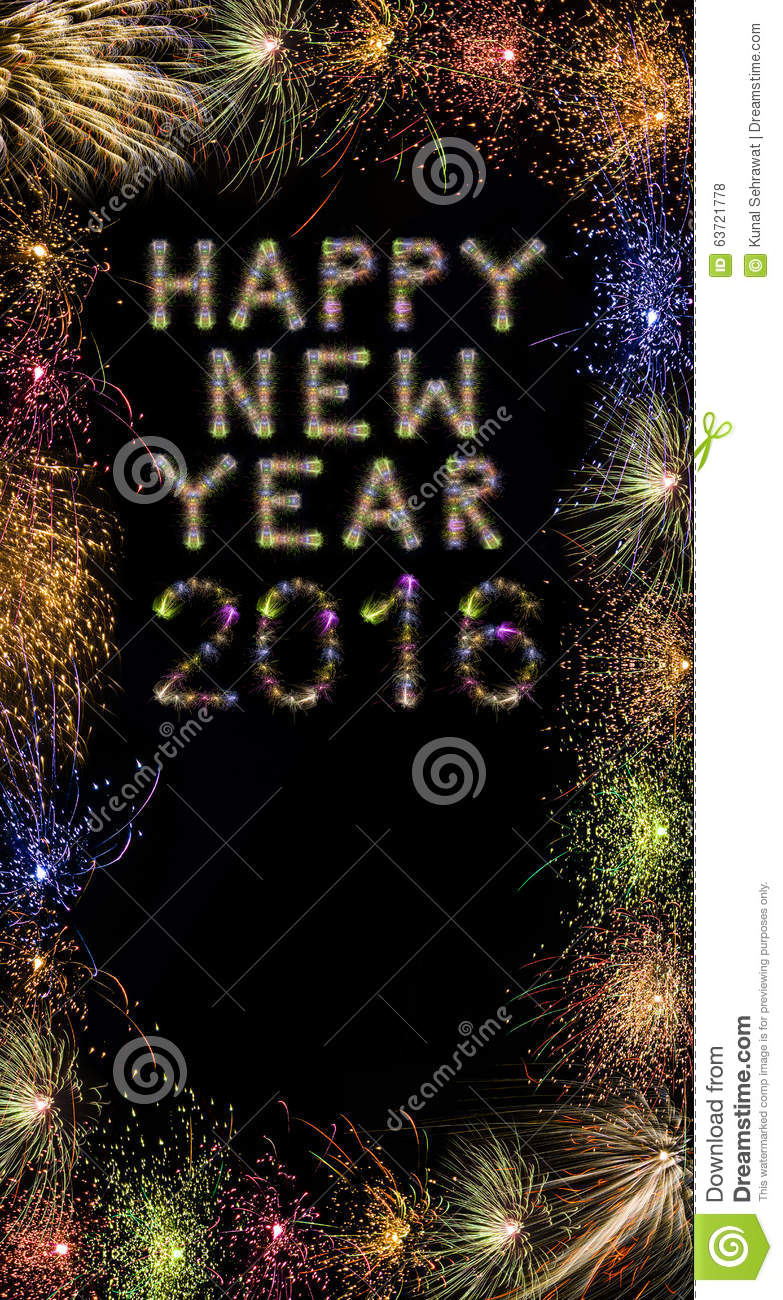 happy new year 2016 colorful sparkling fireworks with border xxx