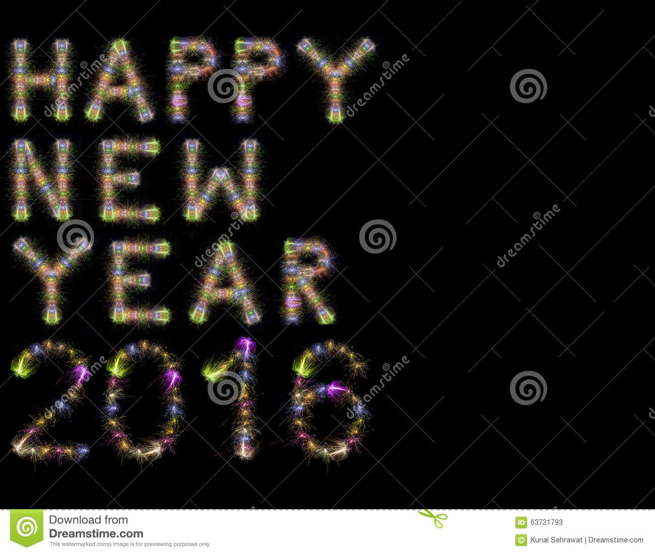 Happy New Year 2016 colorful sparkling fireworks horizontal black