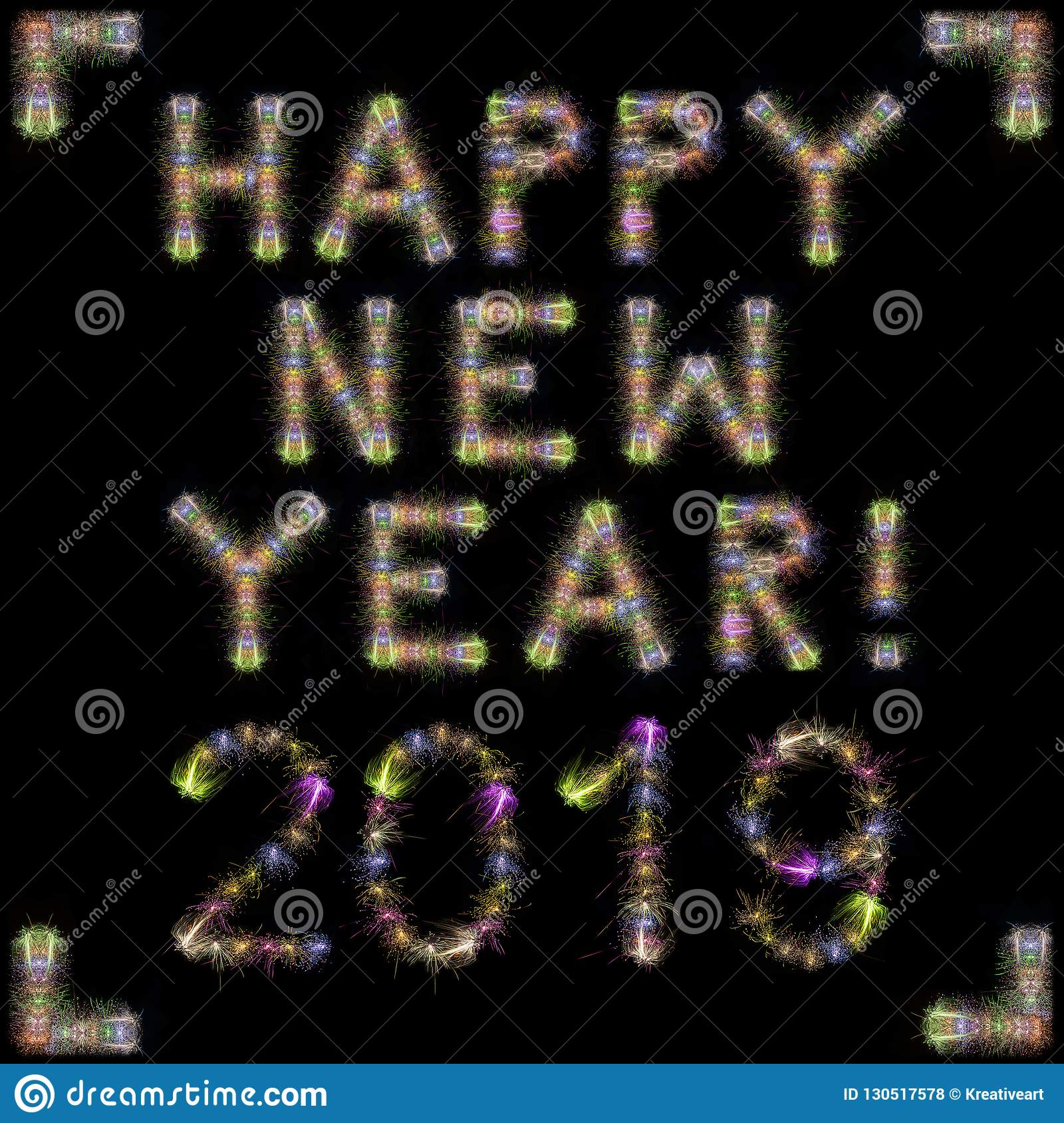 Happy New Year 2019 colorful sparkling fireworks square black sk