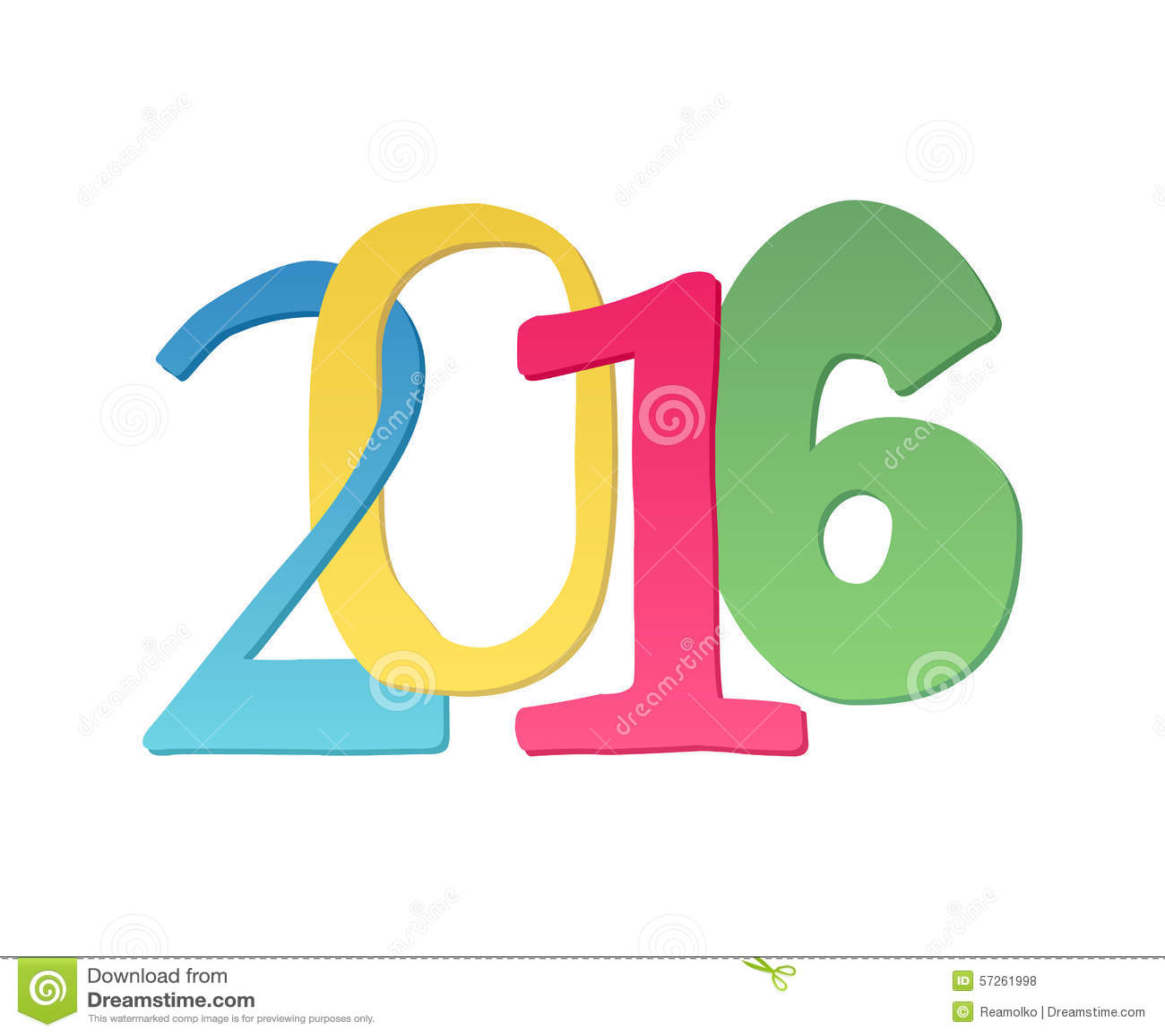 Calendar Typography Vector : Happy new year colorful symbol stock vector image