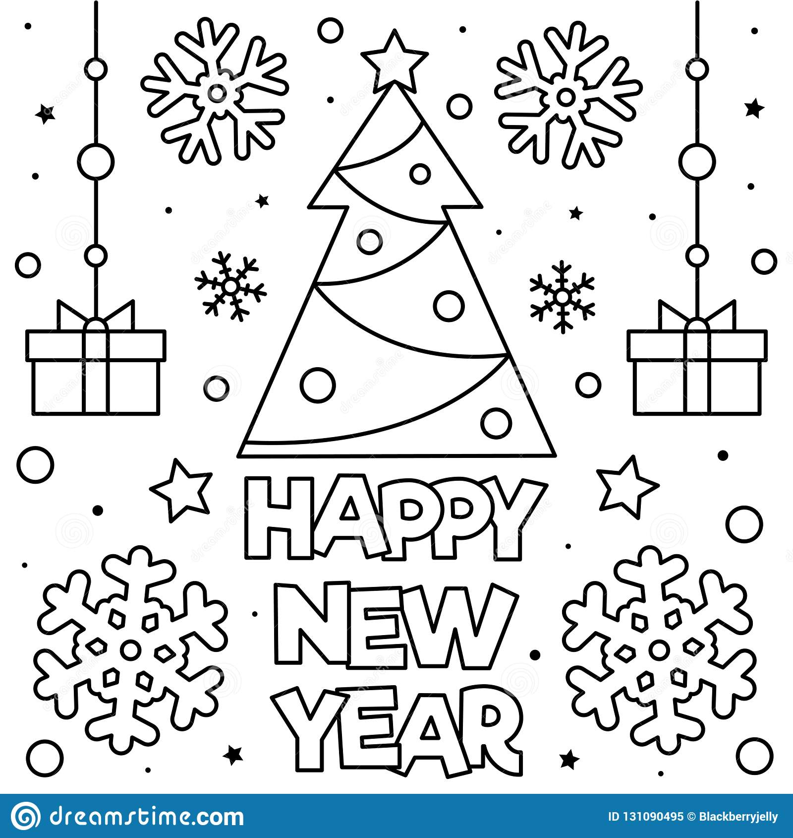 Happy New Year Coloring Page Vector Illustration Stock Vector Illustration Of Cartoon Design 131090495