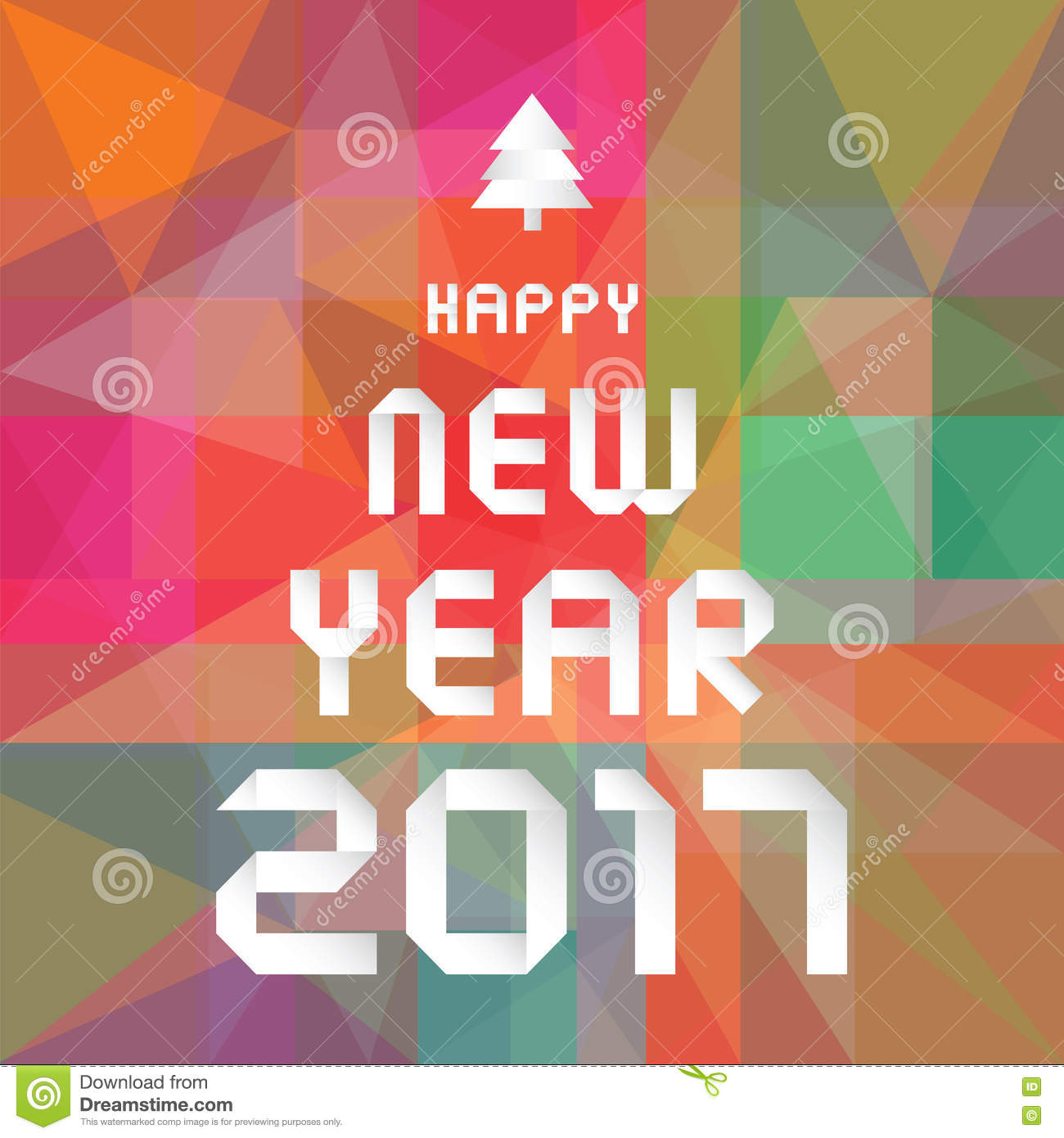 happy new year 2017 on colourful geometric background stock vector