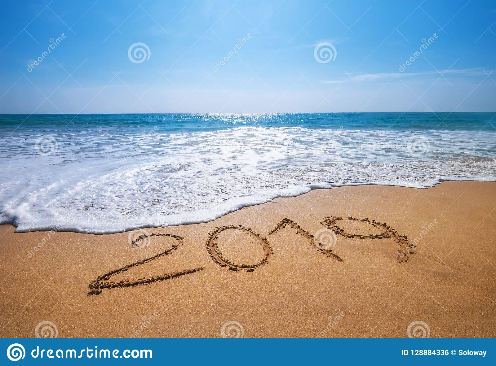 happy new year 2019 is coming concept sandy tropical ocean beach