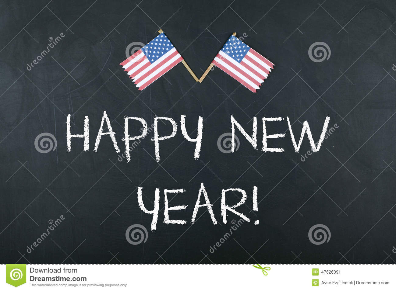 happy new year concept with american flag stock image image of