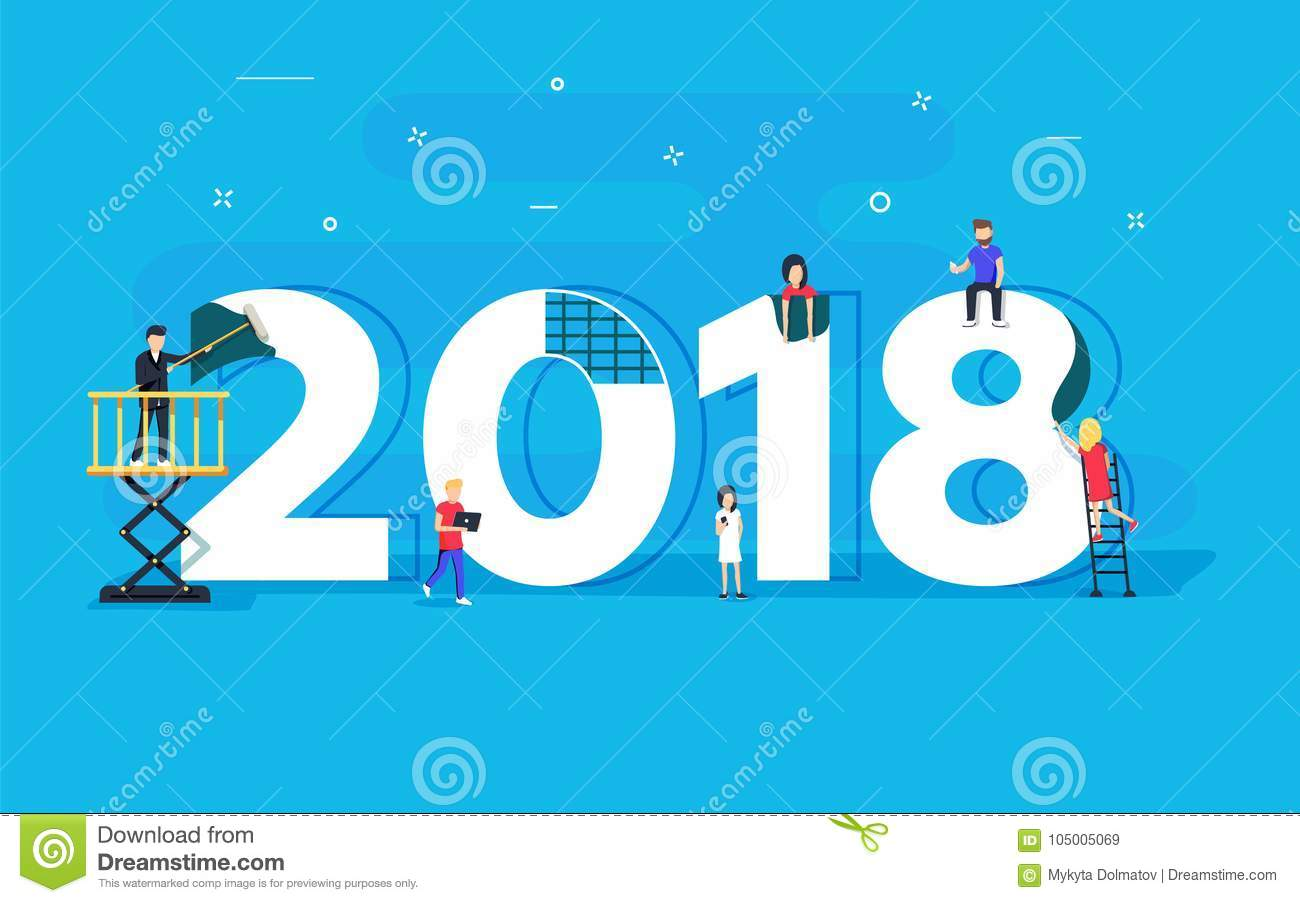 happy new year concept card small people character built 2018 text illustration flat design