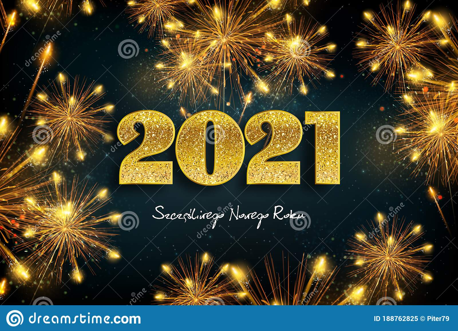 Happy New Year 2021 Concept Of Greeting Card In Polish ...
