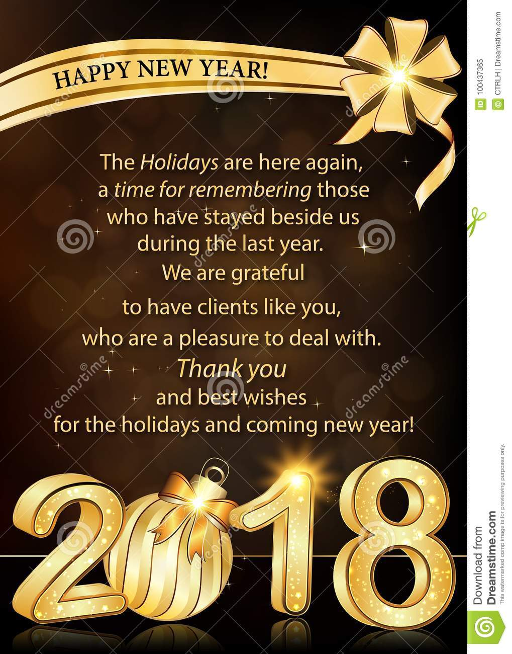 happy new year 2018 corporate greeting card