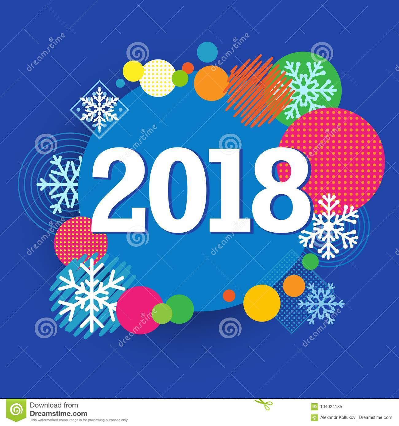 2018 happy new year creative banner colored circle and snow template