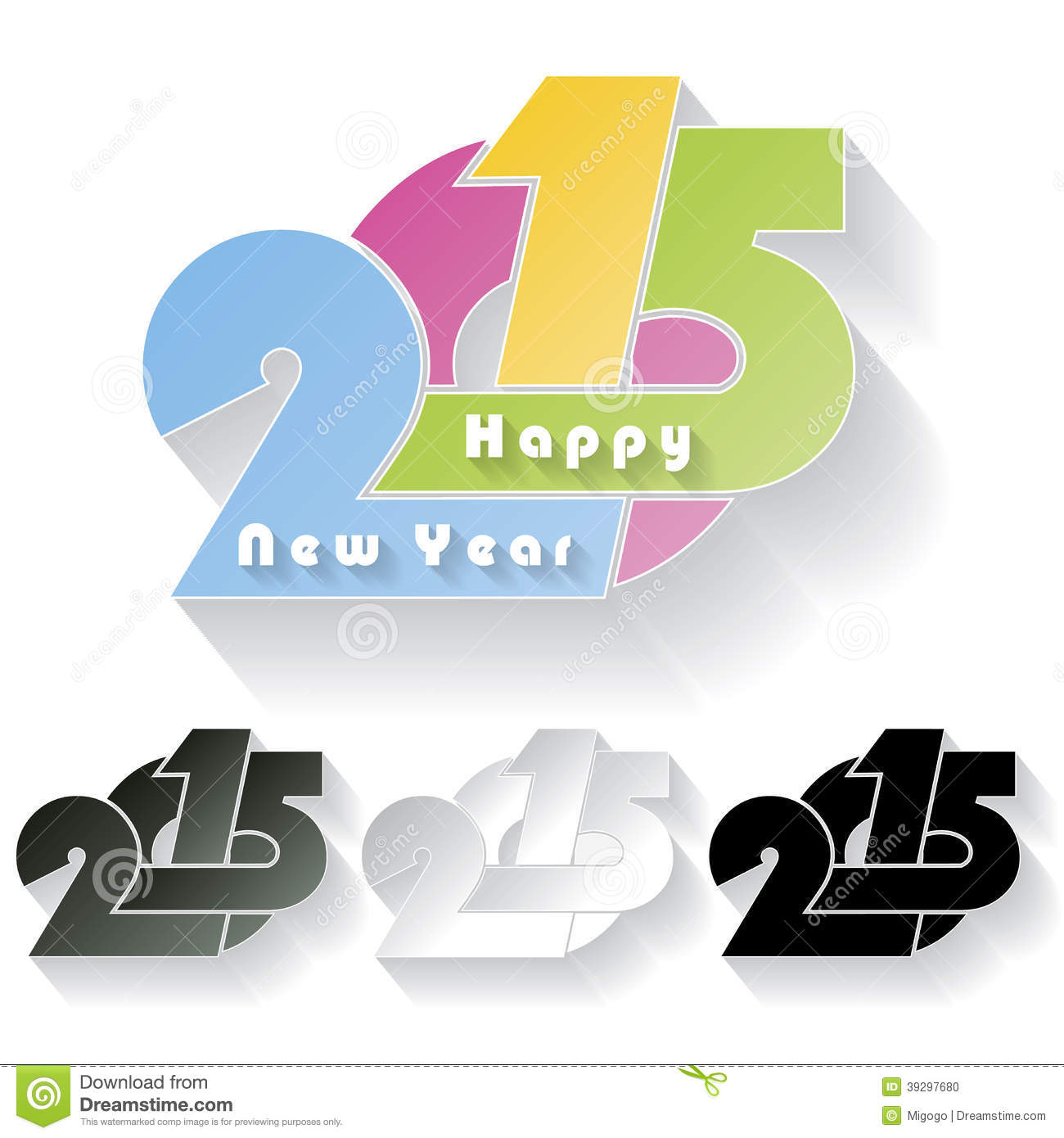 Happy new year 2015 creative greeting card stock illustration happy new year 2015 creative greeting card color festival kristyandbryce Choice Image