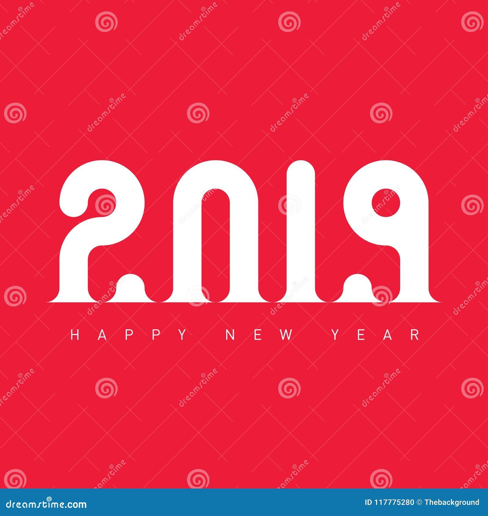Happy New Year 2019 Creative Greeting Card Design Template Uni