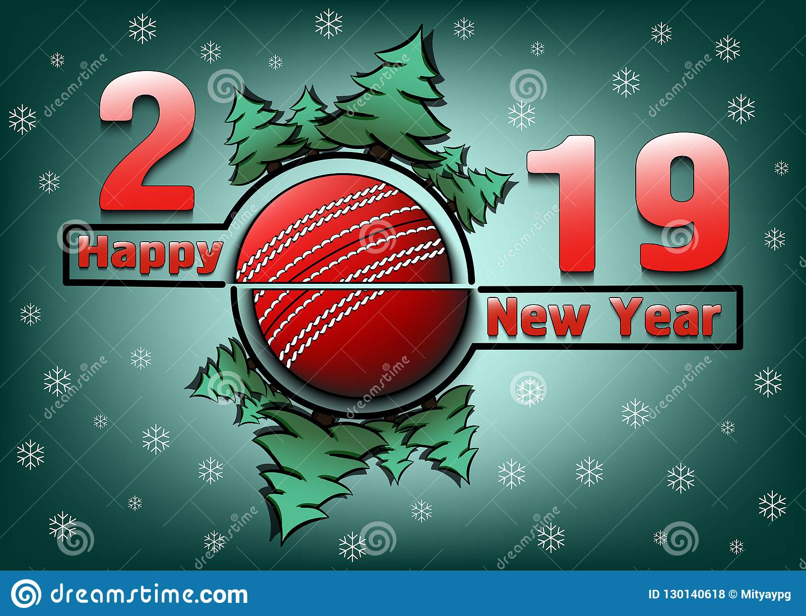 Happy New Year 2019 And Cricket Ball Stock Illustration