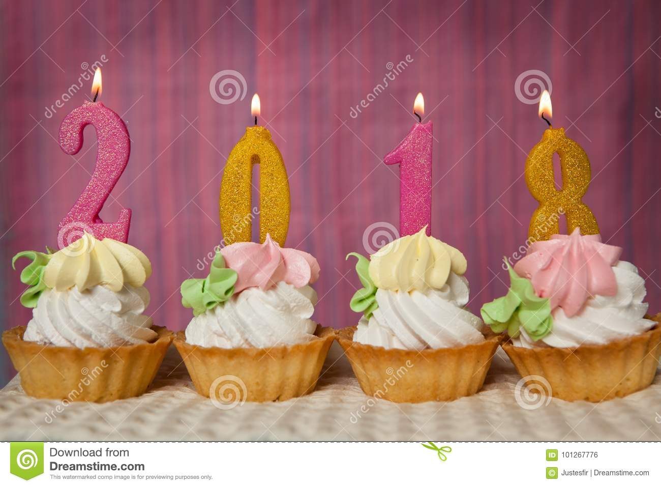 Happy New 2018 Year Cupcakes With Number Candles