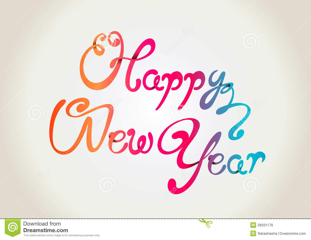 Happy New Year Curly Hand Letters Royalty Free Stock
