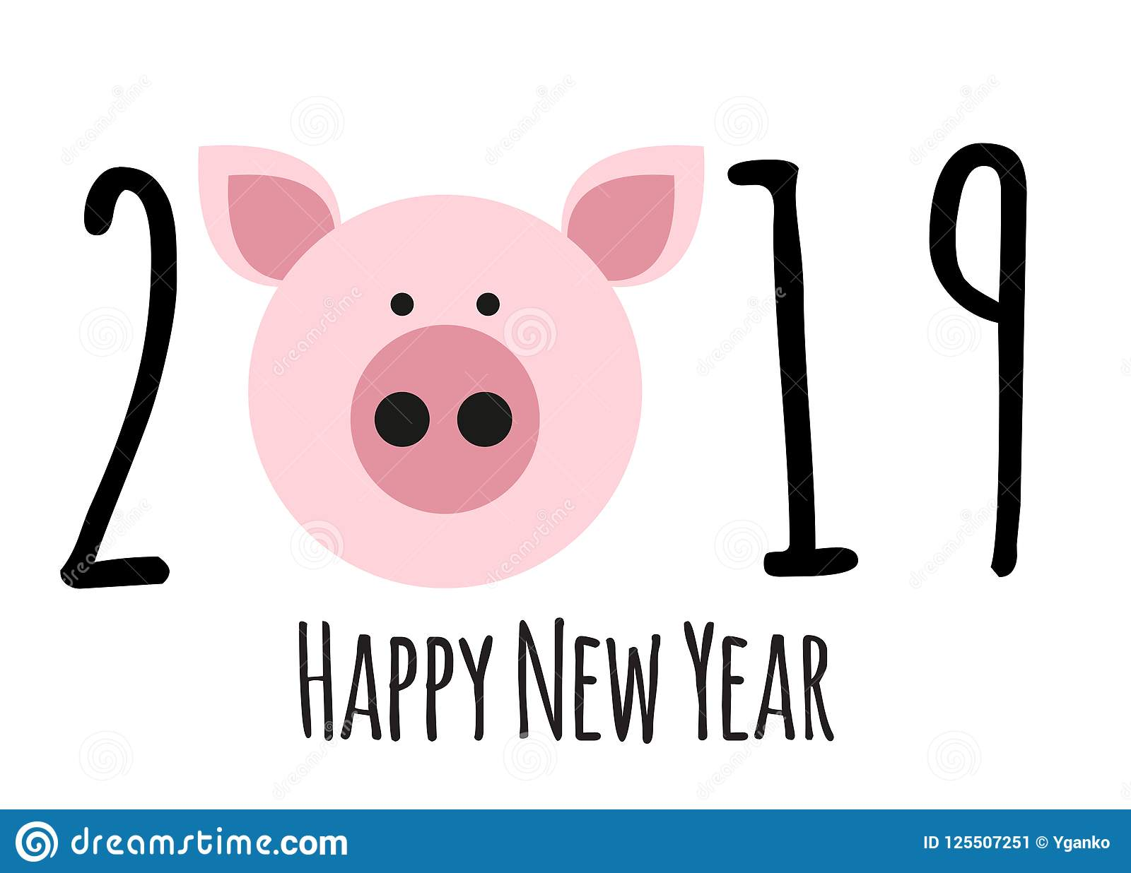Happy New Year 2019 Cute Card Design With Cartoon Pig