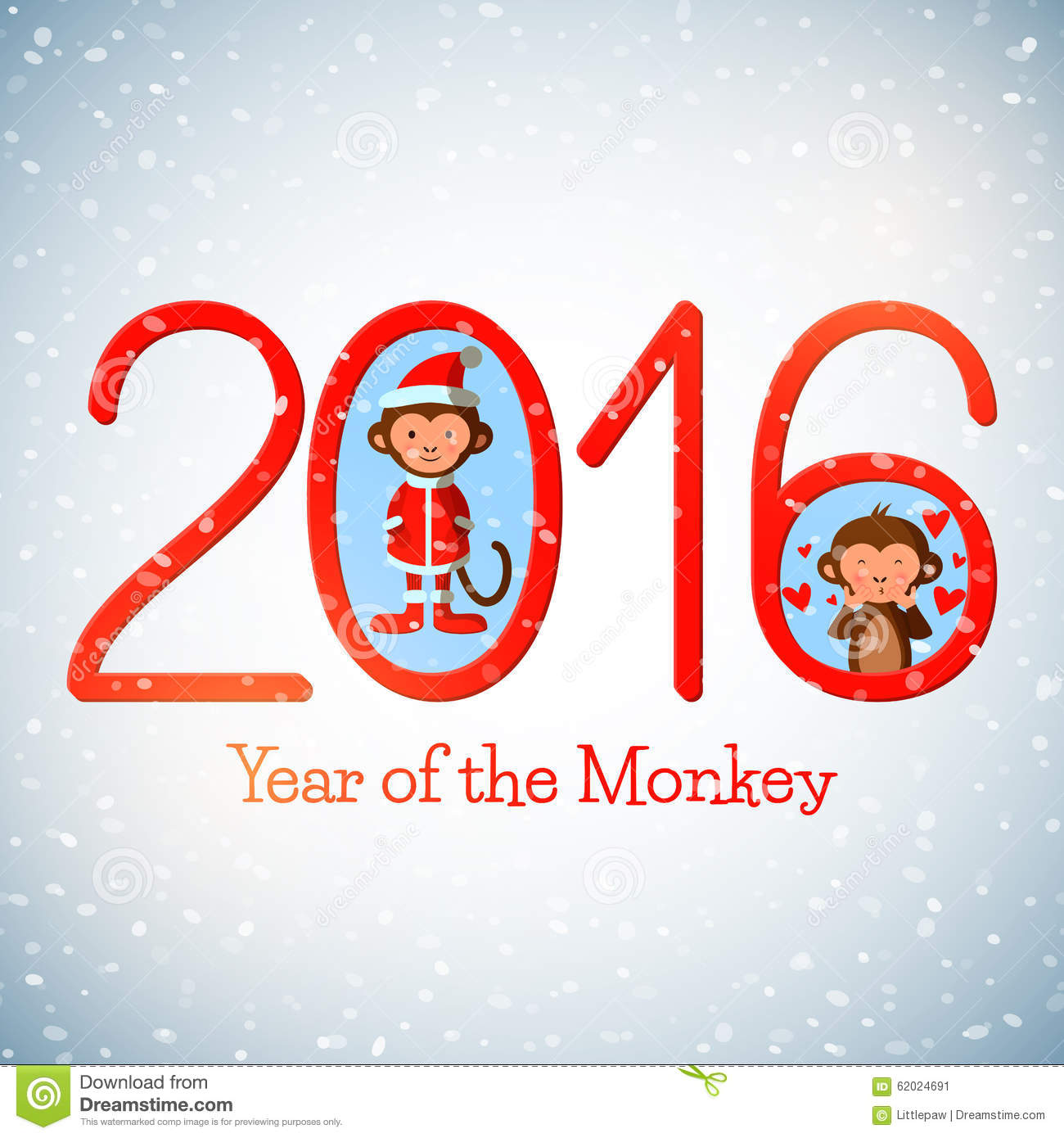 Happy New Year 2016 Cute Greeting Card With Funny Monkeys Stock ...