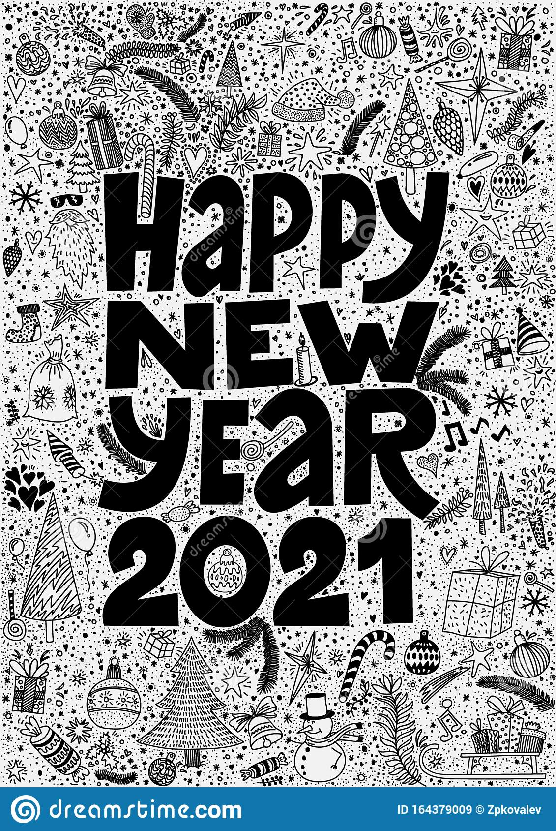 Happy New Year 2021 Cute Hand Drawn Doodle Ink Cartoon ...