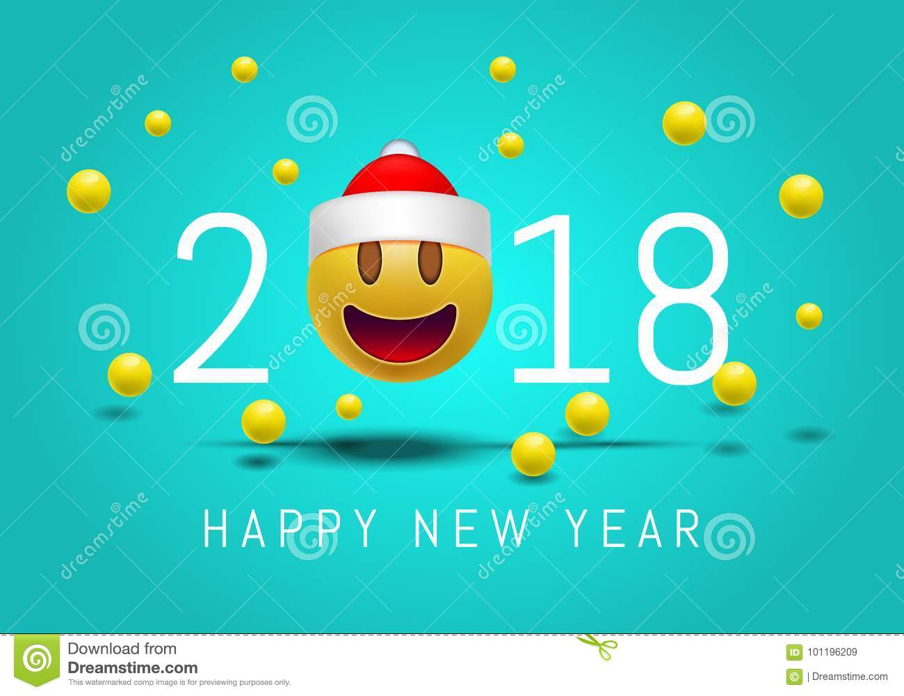 happy new year 2018 with cute smiling emoji face with a santa claus hat 3d