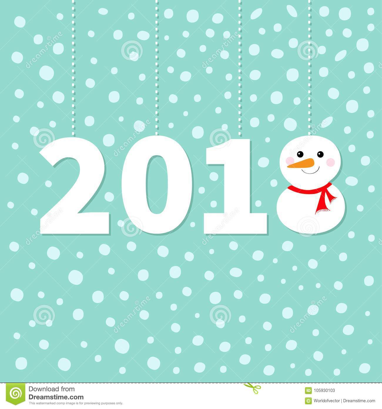 2018 happy new year cute snowman hanging dash line red scarf 2018 happy new year cute snowman hanging dash line red scarf carrot nose template for greeting card calendar presentation kristyandbryce Images