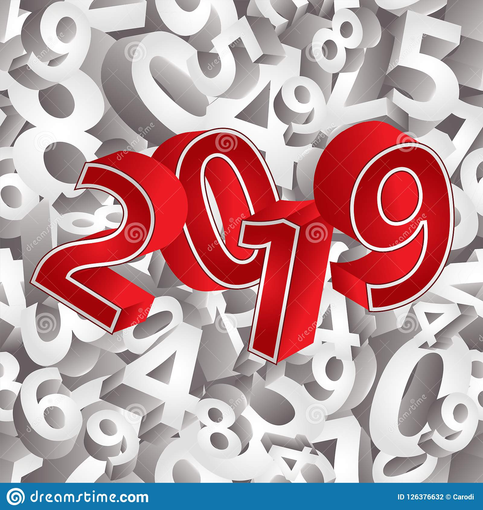 Happy 2019 New Year 3d Background Stock Vector Illustration Of