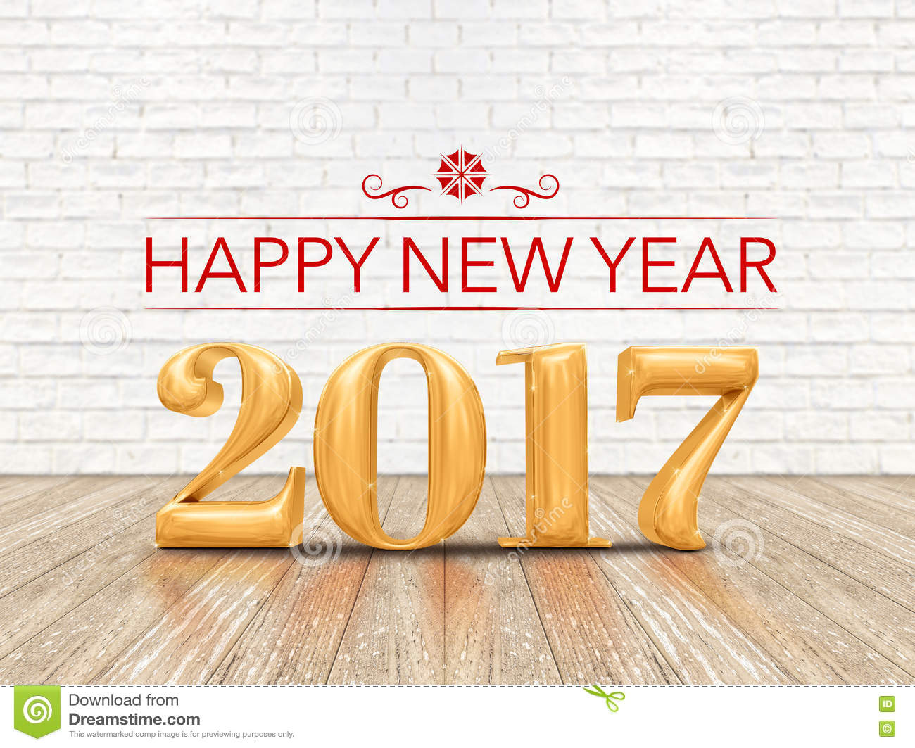 Happy New Year 2017 3d Rendering Gold Color Number On