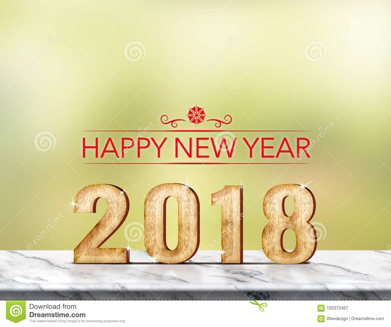Happy new year 2018 3d rendering on marble table at green abst