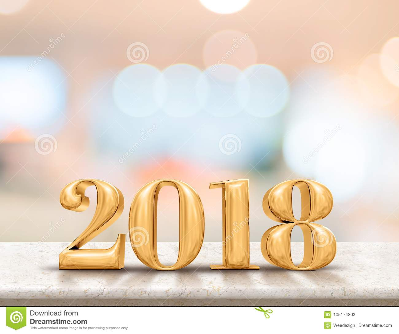 Happy new year 2018 3d rendering on marble table top with blur