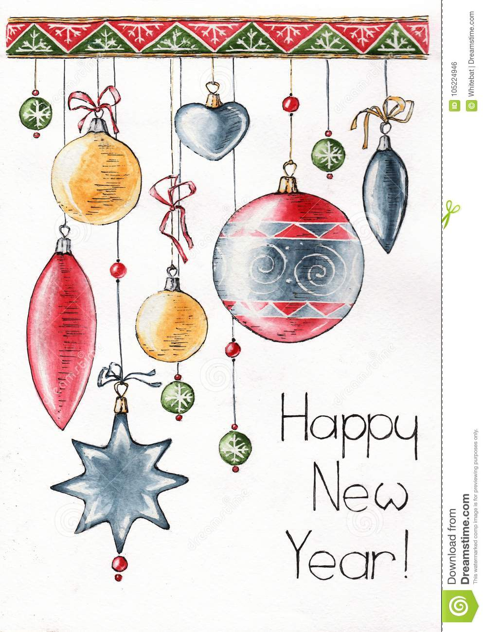 Happy New Year Decorating Watercolor Sketch