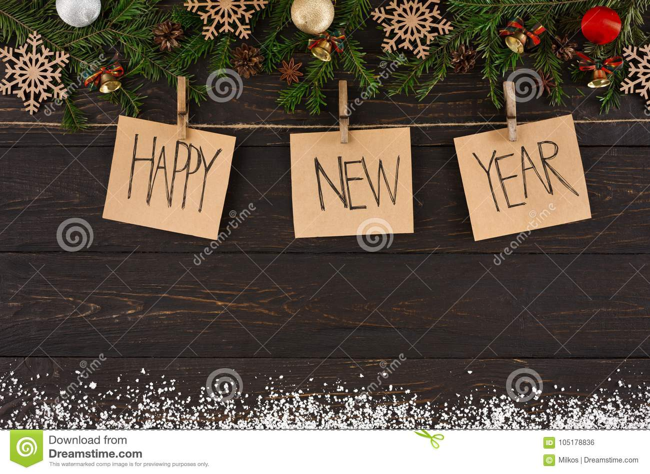 Happy New Year Decoration Cards, Ornament And Garland ...