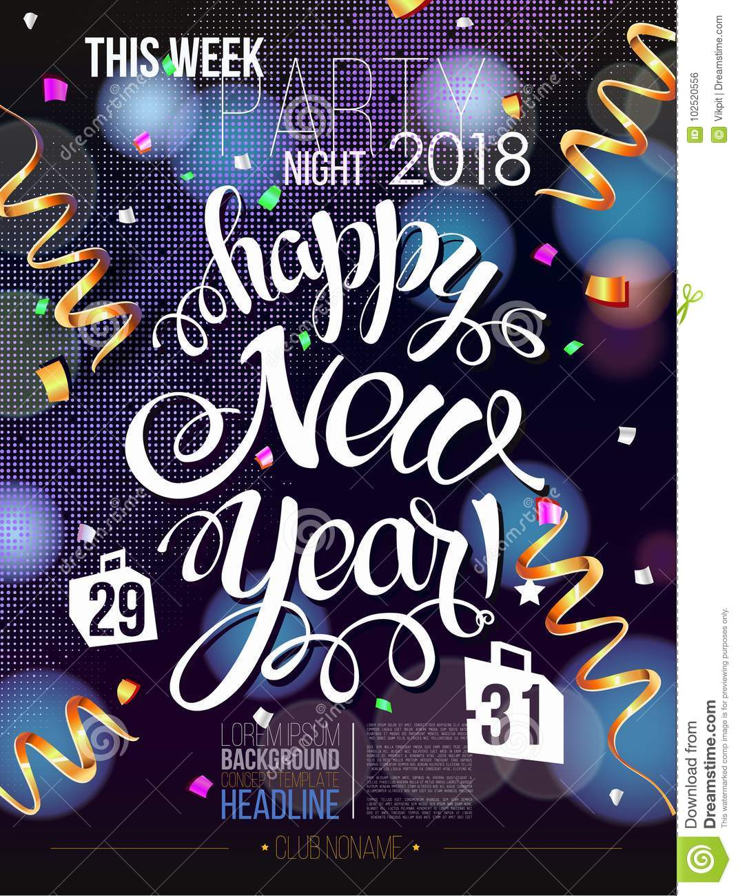 Merry Christmas Poster 2018.Happy New Year 2018 Decoration Poster Card Stock Vector