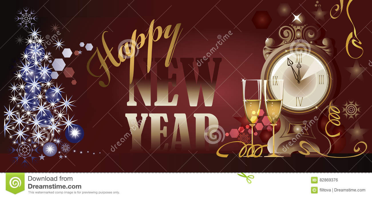Happy new year, decorative card design, clock and two glasses