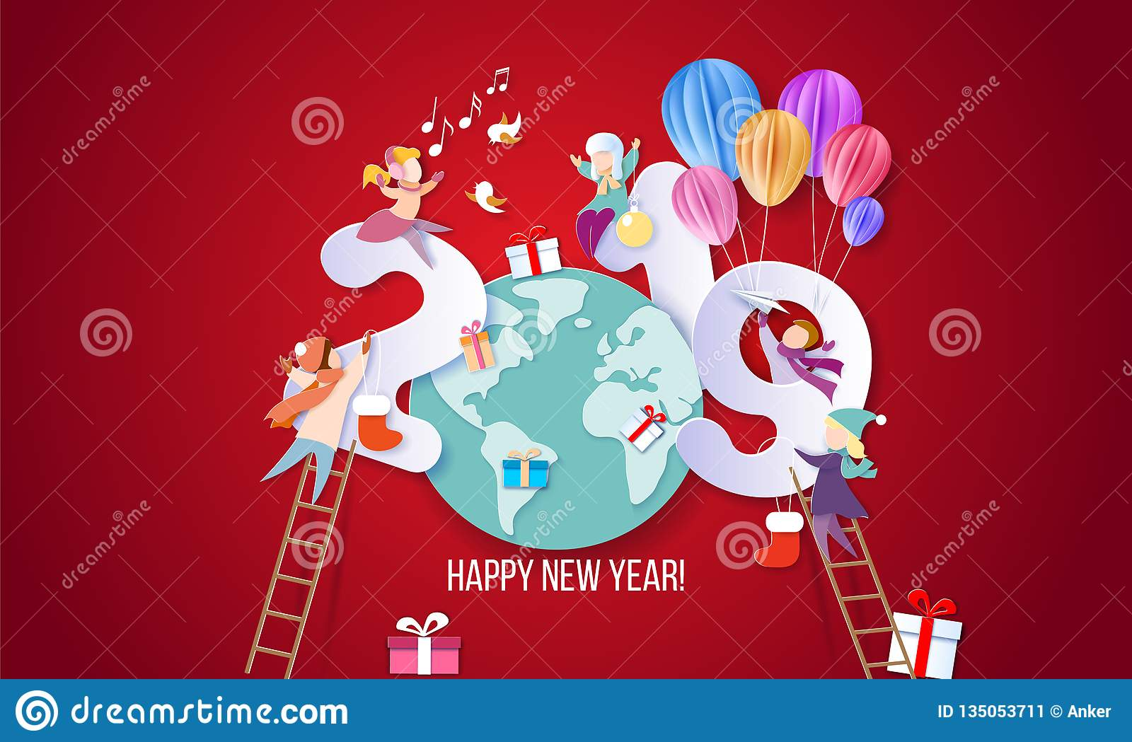 2019 Happy New Year Design Card With Kids Stock Vector Illustration Of Girl Happy 135053711