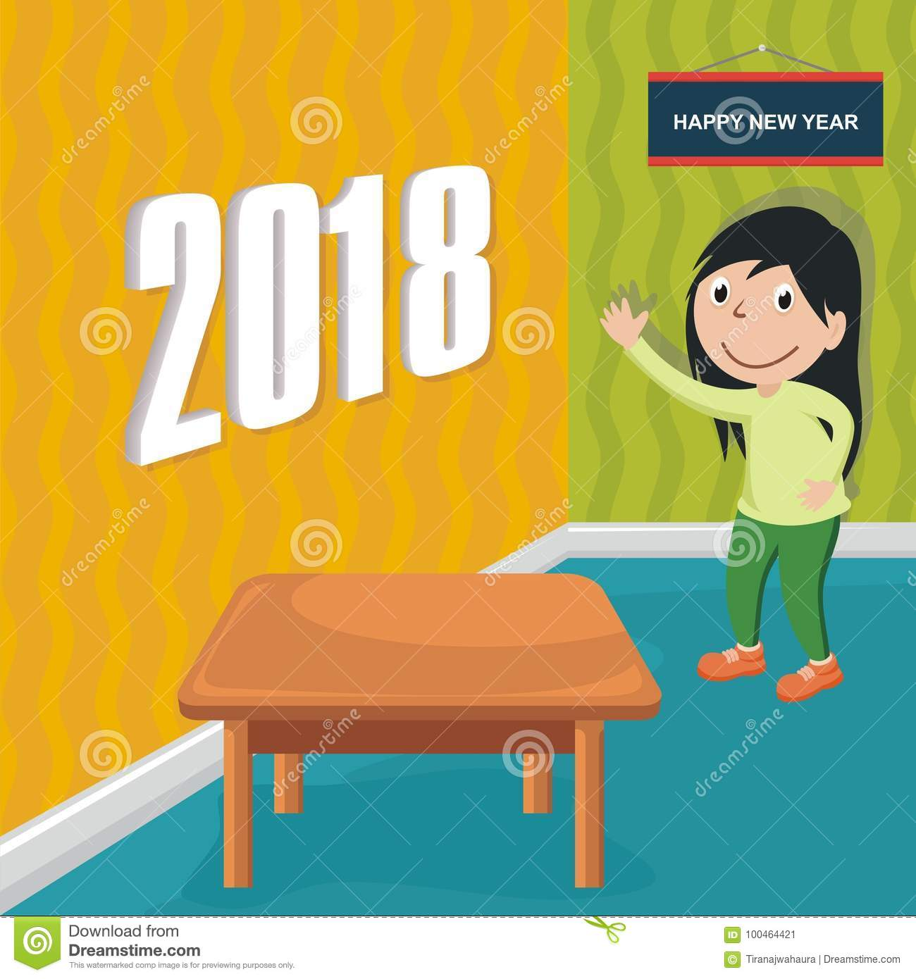 happy new year 2018 with cartoon design