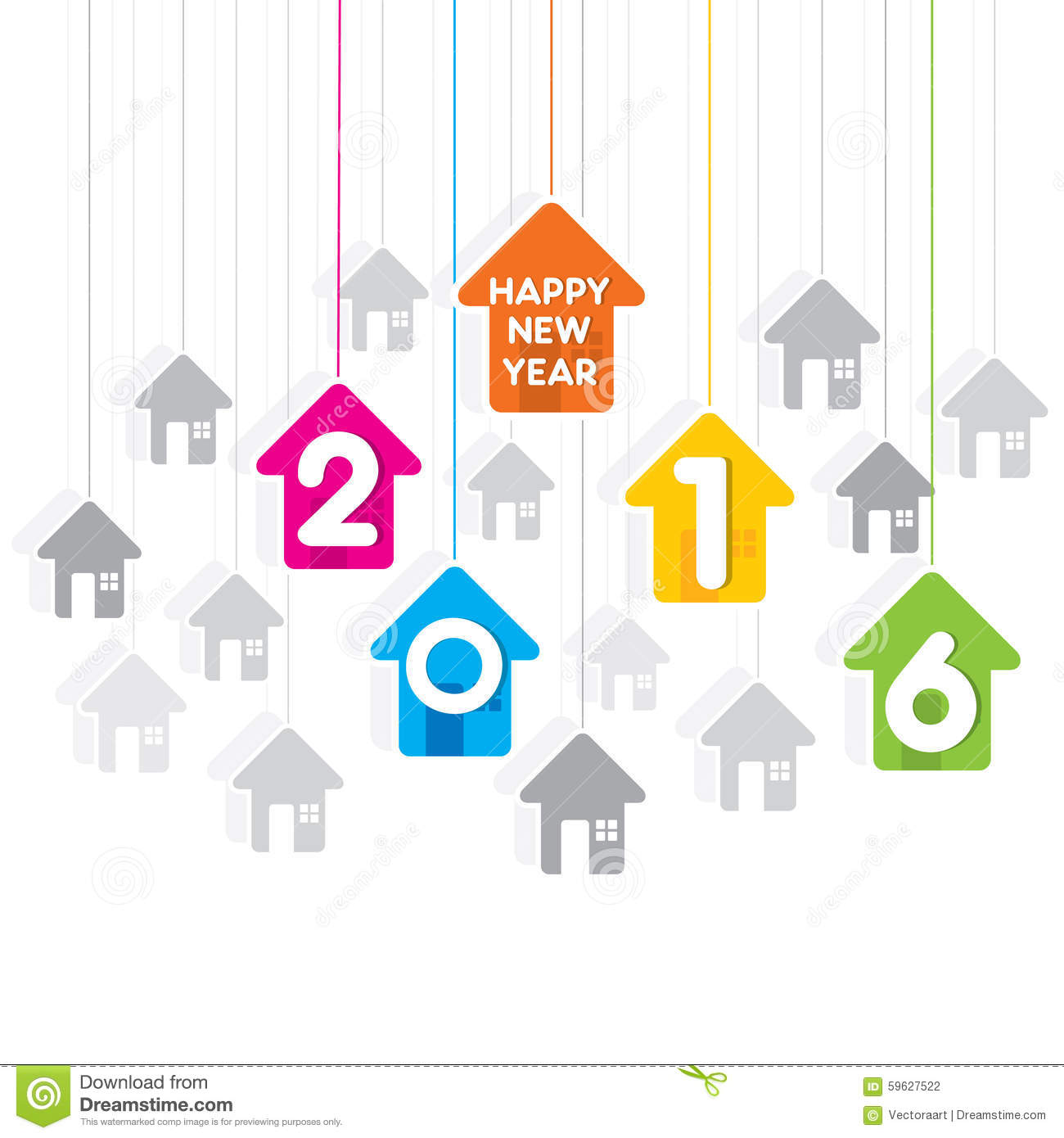 Happy new year 2016 design stock vector illustration of creative new year 2016 greeting design with house theme background m4hsunfo