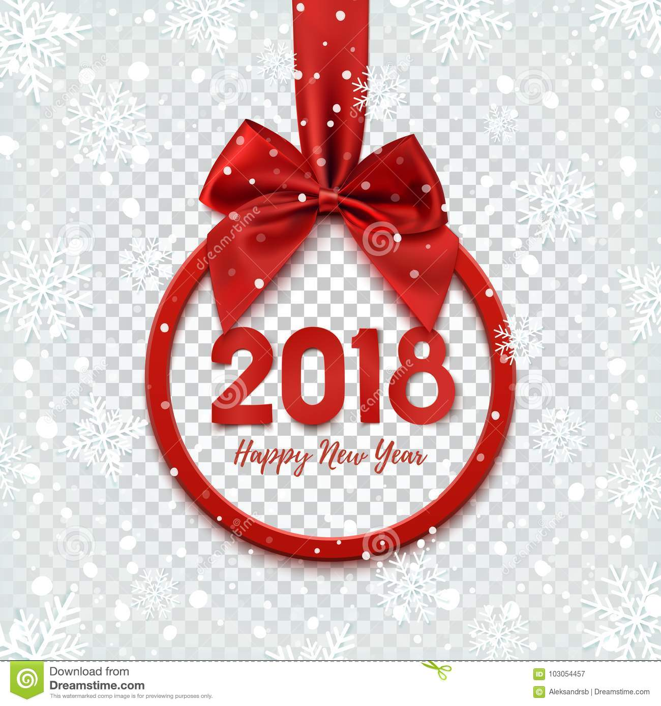 happy new year 2018 design round banner with red ribbon
